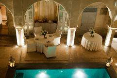 Marrakesh Hotel. Luxurious Riad Hotel with pool and dining tables  in the Medina of Marrakesh, Morocco Stock Photos