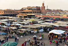 Marrakesh Jamaa el Fna square. Famous Djamaa El Fna square with food stalls at sunset, top view. Marrakesh, Morocco, Africa stock photos