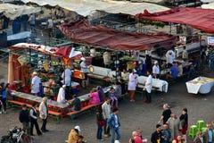 Marrakesh Jemaa el Fnaa food stalls Stock Photos