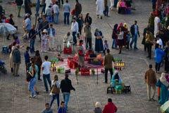Marrakesh Jemaa el Fnaa fyrkantdragningar Royaltyfri Foto