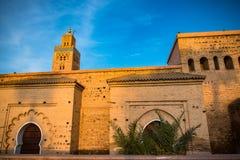Marrakesh Koutoubia moské i varmt solljus Arkivfoto