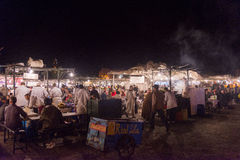 Marrakesh main square at night Stock Photos