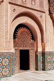 MARRAKESH MAROCKO mars 03, 2016: Ben Youssef Madrasa som besökas av turister från all värld i Marrakesh Ben Yous Arkivfoto
