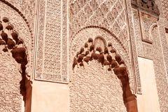 MARRAKESH MAROCKO mars 03, 2016: Ben Youssef Madrasa som besökas av turister från all värld i Marrakesh Ben Yous Royaltyfria Foton
