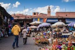 Marrakesh, Maroko - 26 2015 Październik: Rynek na kwadracie Obrazy Stock