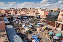 Marrakesh, Maroko - 26 2015 Październik: Rynek na kwadracie Obraz Royalty Free