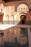 MARRAKESH, MAROKO: Podwórze Medersa Ben Youssef obraz stock