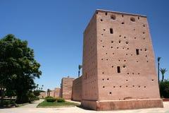 Marrakesh Medina väggar Arkivbilder