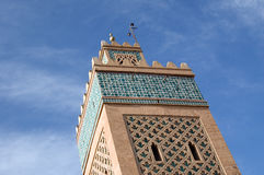 Marrakesh Minaret. A Minaret detail of am mosque in the Marrakesh center, Morocco Royalty Free Stock Image