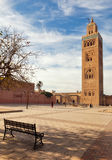 Marrakesh Molay al yazid Mosque. And square with bench Stock Photography