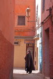 MARRAKESH, MOROCCO - APRIL 20, 2013: An alley inside Marrakesh Medina royalty free stock images