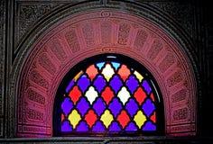 Colored window of El Bahia Palace in Marrakesh. Marrakesh Morocco The Arabian Palace in Bahrain: قصر الباهية, Qaṣr al-Bā stock images