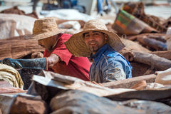 MARRAKESH, MOROCCO - February 2012 - Portrait of tannery workers, old medina Stock Photos