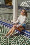 Beautiful Russian girl visit Bahia Palace in Marrakesh.