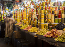 Marrakesh, Morocco - January 7 2017: Olives shop. Olives shops in Marrakesh at the Jemaa El-Fnaa square in 2017 Stock Images