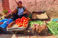 Marrakesh, Morocco - March 04 2019 Vegetable trader offer his fruits in the souk of Marrakesh.  royalty free stock images