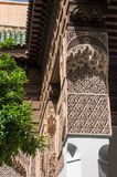 Details of wood carving in interior of El Bahia palace, Marrakec. Marrakesh, Morocco - May 3, 2017: Details of wood carving in interior of El Bahia palace Royalty Free Stock Image