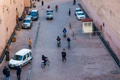 Crowded streets of marrakech. Marrakesh, Morocco - November 15, 2016 : crowded streets of marrakech Royalty Free Stock Photos