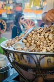 Marrakesh, Morocco - September 05 2013: Boiled snails cooked in large pot and sold as snack on Jamaa el Fna square Stock Photography