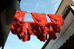 Marrakesh red wool drying. Red wool just tinted is drying in the souq of Marrakesh Royalty Free Stock Photos
