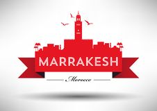 Marrakesh Skyline with Typography Design stock illustration