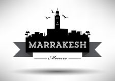 Marrakesh Skyline with Typography Design vector illustration