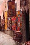 Marrakesh souk. Morocco Marrakesh display of colorful carpets hanging in one of the many souks in the Medina Royalty Free Stock Image