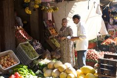 Marrakesh Street fruit vendor Stock Photo