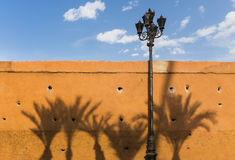 Marrakesh. Wall in the Medina of Marrakesh with shadows of palm trees, Kingdom of Morocco, North Africa. The Medina of Marrakesh is a UNESCO World Heritage Site royalty free stock photography
