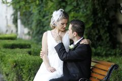 Marriage. Young groom romancing his beautiful bride on a bench in the park royalty free stock photo