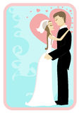 Marriage. Illustration of a young couple married in wedding clothing royalty free illustration