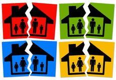 Marriage. Problems in the marriage, family breaking up in divorce, broken house royalty free illustration