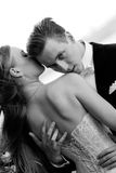 Marriage. Black and white wedding shot of bride and groom Stock Image