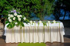 Marriage altar. A wedding altar with flowers and plants Royalty Free Stock Images