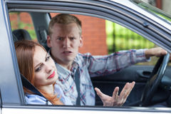 Marriage arguing in a car Royalty Free Stock Photo