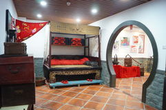 Marriage bedroom landscape in rural China. China's rural marriage bedroom landscape, which is the landscape 30 years ago. In Chaoshan Folk Culture Museum stock photos