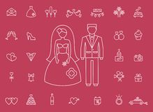 Marriage bridal icons in modern line style Stock Images
