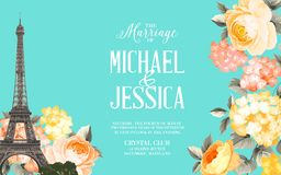 The marriage card. Marriage invitation card with floral garland and calligraphic text. Eiffel tower with blooming spring flowers over blue background. Vector Royalty Free Stock Photos