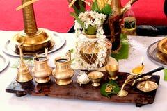Marriage ceremony. Hindu wedding equipment Stock Photo