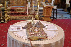Marriage ceremony. Wedding ceremony in Orthodox church - Romania. Marriage ceremony. Holy Cross, Wedding Crowns and Gospel Book for wedding ceremony in orthodox Royalty Free Stock Photography