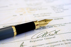 Marriage certificate and fountain  pen Stock Image