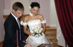Marriage contract. Making a marriage contract procedure Stock Photo