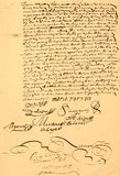 Marriage Contract dated 1656. Marriage contract, written and dated Sept 29, 1656, Canadian, written in French, page 2 of 2 Stock Photo