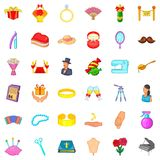 Marriage of convenience icons set, cartoon style. Marriage of convenience icons set. Cartoon set of 36 marriage of convenience vector icons for web isolated on royalty free illustration