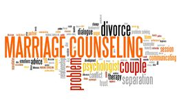 Marriage counseling. Relationship problems solution. Word cloud sign stock illustration