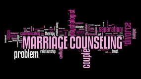 Marriage problem. Marriage counseling - relationship problems solution. Word cloud sign Royalty Free Stock Photography