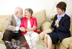 Marriage Counseling Success. Happy senior couple benefits from marriage counseling Royalty Free Stock Photos