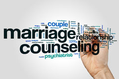 Marriage counseling word cloud. Concept on grey background Royalty Free Stock Photos