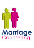 Marriage Counselling. A graphic image representing a male and female seeking marriage counselling, set with text in blue and pink Stock Photo