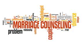 Marriage counsellor. Marriage counselor - relationship problems solution. Word cloud sign Royalty Free Stock Photos